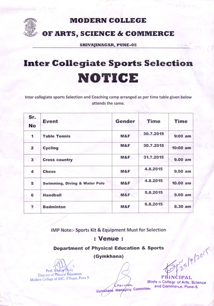 Intercollegiate  Sports Selection